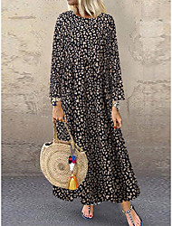 cheap -Women's Maxi White Brown Dress Basic Daily Wear Dress Swing Leopard M L