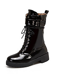 cheap -Women's Boots Block Heel Round Toe Patent Leather Mid-Calf Boots Casual / British Fall & Winter Black / White / Red