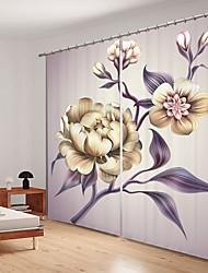 cheap -White Illustration Style Flower Digital Printing 3D Crtain Shading Curtain High Precision Black Slk Fabric high Quality Curtain