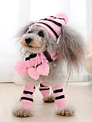 cheap -Dog Cat Pets Bandanas & Hats Dog Scarf Foot Accent Winter Dog Clothes Rainbow Yellow Pink Costume Polyster Striped Cosplay Christmas XXS XS S M L