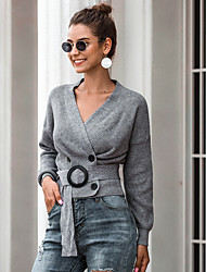 cheap -Women's Solid Colored Long Sleeve Cardigan Sweater Jumper, V Neck Black / Beige / Gray One-Size