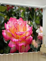 cheap -Powder White Camellia Digital Printing 3D Curtain Shading Curtain High Precision Black Silk Fabric High Quality Curtain