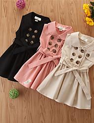 cheap -Toddler Girls' Basic Solid Colored Sleeveless Asymmetrical Dress Black