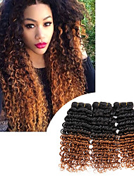 cheap -3 Bundles Brazilian Deep Wave Hair Extensions Ombre T1B/30 Color 2 Tone 100% Human Hair Bundles Hair Weaves Natural Black Color