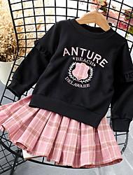 cheap -Toddler Girls' Active Plaid Long Sleeve Clothing Set Blushing Pink