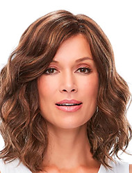 cheap -Human Hair Lace Front Wig Deep Parting style Brazilian Hair Wavy Brown Wig 180% Density Women Women's Medium Length Human Hair Lace Wig Premierwigs