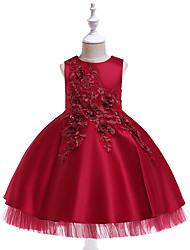 cheap -Kids Toddler Girls' Active Cute Solid Colored Floral Jacquard Beaded Bow Pleated Sleeveless Knee-length Dress Wine