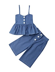 cheap -Baby Girls' Basic Blue Solid Colored Sleeveless Short Short Clothing Set Blue