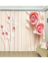 cheap -Pink Stereo Sugar Turning Style Rose Environmental Protection Digital Printing 3D Curtain Shading Curtain High Precision Black Silk Fabric High Quality First Class Shading Personal Hotel Curtain