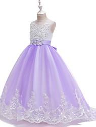 cheap -Kids Girls' Floral Jacquard Lace Dress White