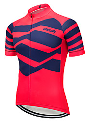 cheap -CAWANFLY Men's Short Sleeve Cycling Jersey Red+Blue Geometic Bike Jersey Top Mountain Bike MTB Road Bike Cycling Breathable Quick Dry Back Pocket Sports Clothing Apparel / Advanced / Expert