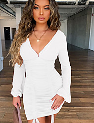 cheap -Women's Mini White Black Dress Sheath Solid Colored Deep V S M Slim