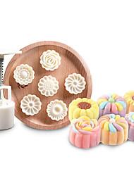 Недорогие -7 шт. Набор 3d цветок Mooncake плесень 1 ручной пресс с 6 формы цветка середины осени арка луна торт хлеб печенье резак
