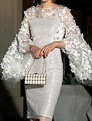 cheap -Women's White Dress Sheath Solid Colored S M