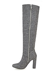 cheap -Women's Boots Over-The-Knee Boots Chunky Heel Round Toe Suede Over The Knee Boots Fall & Winter Black / Gray