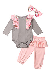 cheap -Baby Girls' Active Patchwork Patchwork Long Sleeve Long Long Clothing Set