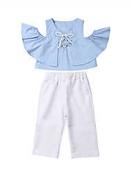 cheap -Baby Girls' Casual / Basic White / Blue Solid Colored Short Sleeve Long Clothing Set Light Blue