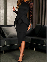 cheap -Sheath / Column High Neck Knee Length Polyester Elegant / Black Cocktail Party / Wedding Guest Dress with Ruffles / Ruched 2020