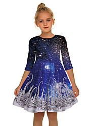 cheap -Santa Suit Dress Girls' Kid's Cute Daily Wear Christmas Polyester Dress