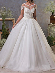 cheap -A-Line Bateau Neck Court Train Tulle Short Sleeve Made-To-Measure Wedding Dresses with Appliques 2020