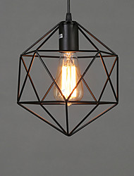 cheap -1-Light Retro Black Metal Cage Loft Chandelier Living Room Dining Room Corridor Cafe Bar Lighting Geometric Diamond Chandelier 40 Watt Chandelier Suitable For 5-10M