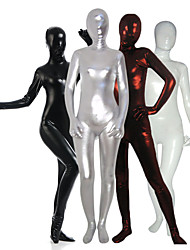 cheap -Shiny Zentai Suits Catsuit Skin Suit Ninja Adults' Spandex Latex Cosplay Costumes Sex Men's Women's Black / White / Silver Solid Colored Halloween / Leotard / Onesie / Leotard / Onesie