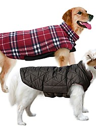 cheap -Dog Coat Vest Winter Dog Clothes Reversible Brown Green Red Costume Cotton Plaid / Check Keep Warm Reversible XS S M L XL XXL