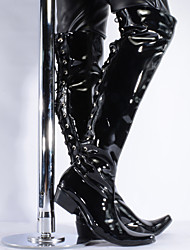 cheap -Men's Fashion Boots Patent Leather Winter / Fall & Winter Casual / British Boots Warm Thigh-high Boots Black / Party & Evening