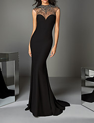 cheap -Mermaid / Trumpet Illusion Neck Sweep / Brush Train Charmeuse Luxurious / Black Engagement / Formal Evening Dress with Crystals / Beading 2020