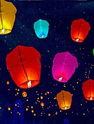 cheap -10pcs Skylight Burning Wax Block Lift Paper Hot Air Balloon Paper Lantern Outside Room Decoration Holiday Celebration