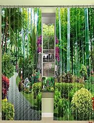 abordables -Parc forestier moderne impression numérique 3d rideau rideau d'ombrage haute précision noir tissu de soie rideau de haute qualité