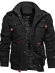 cheap -Men's Jacket Daily Hooded Regular Solid Colored Long Sleeve Black / Army Green / Khaki US32 / UK32 / EU40 / US34 / UK34 / EU42 / US36 / UK36 / EU44