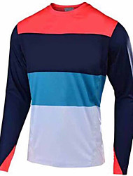 cheap -21Grams Men's Long Sleeve Cycling Jersey Dirt Bike Jersey Red and White Black / Red Red Bike Jersey Motorcyle Clothing Top Mountain Bike MTB Road Bike Cycling UV Resistant Breathable Quick Dry Sports