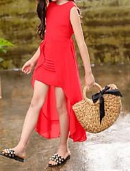 abordables -Enfants Fille Doux Chinoiserie Couleur Pleine A Volants Ruché Cordon Sans Manches Midi Robe Rouge