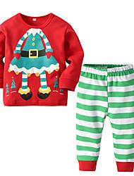 cheap -Toddler Boys' Basic Christmas Home Santa Claus Print Cartoon Christmas Print Long Sleeve Regular Regular Cotton Clothing Set Red