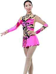 cheap -Rhythmic Gymnastics Leotards Artistic Gymnastics Leotards Women's Girls' Leotard Blushing Pink Spandex High Elasticity Handmade Print Jeweled Long Sleeve Competition Ballet Dance Ice Skating Rhythmic