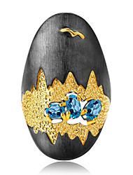 Недорогие -Жен. Кольцо Цирконий 1шт Цвет радуги Латунь Геометрической формы Мода Повседневные Праздники Бижутерия геометрический Цветы Cool