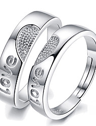 cheap -Ring Silver Alloy 2pcs Adjustable / Couple's / Daily