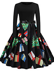 cheap -Women's A Line Dress - Long Sleeve Geometric Print Vintage Christmas Party Rainbow S M L XL XXL