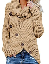 abordables -Femme Couleur Pleine Manches Longues Pullover Pull pull, Col Roulé Noir / Vin / Kaki S / M / L
