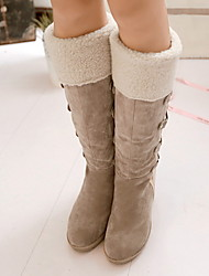 cheap -Women's Boots Snow Boots Wedge Heel Round Toe Suede Mid-Calf Boots Fall & Winter Black / Yellow / Beige