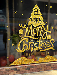 cheap -Window Film & Stickers Decoration Happy New Year / Christmas Geometric / Character PVC(PolyVinyl Chloride) Window Sticker / Door Sticker / Funny