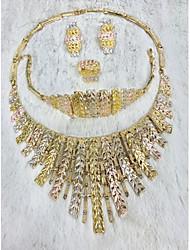 cheap -Women's Chain Bracelet Hoop Earrings Choker Necklace Tassel Leaf Rainbow Peace Statement Stylish Unique Design Trendy Colorful 18K Gold Plated Gold Plated Earrings Jewelry Gold For Wedding Party