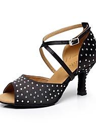 cheap -Women's Dance Shoes Satin Latin Shoes Rhinestone / Crystal / Rhinestone Heel Cuban Heel Customizable Black / Performance / Leather