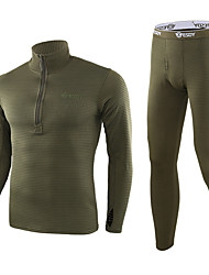 cheap -Men's Thermal Underwear Set Outdoor Thermal / Warm Windproof Breathable Quick Dry Fall Winter Clothing Suit Flannel Camping / Hiking Hunting Fishing Black Green Khaki