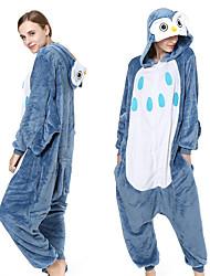 cheap -Adults' Kigurumi Pajamas Owl Animal Onesie Pajamas Coral fleece Blue Cosplay For Men and Women Animal Sleepwear Cartoon Festival / Holiday Costumes