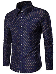 cheap -Men's Plus Size Polka Dot Shirt Daily Blue / Red / Long Sleeve