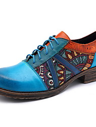 cheap -Women's Oxfords Low Heel Round Toe Leather Fall & Winter Royal Blue