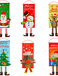 cheap -Christmas Decorations Christmas Cloth New Year Hanging Legs Hanging Flags Window