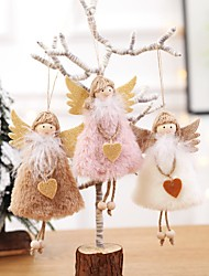 cheap -Christmas Hanging Christmas Cute Plush Heart Feather Angel Doll Ornaments Christmas Tree Hanging